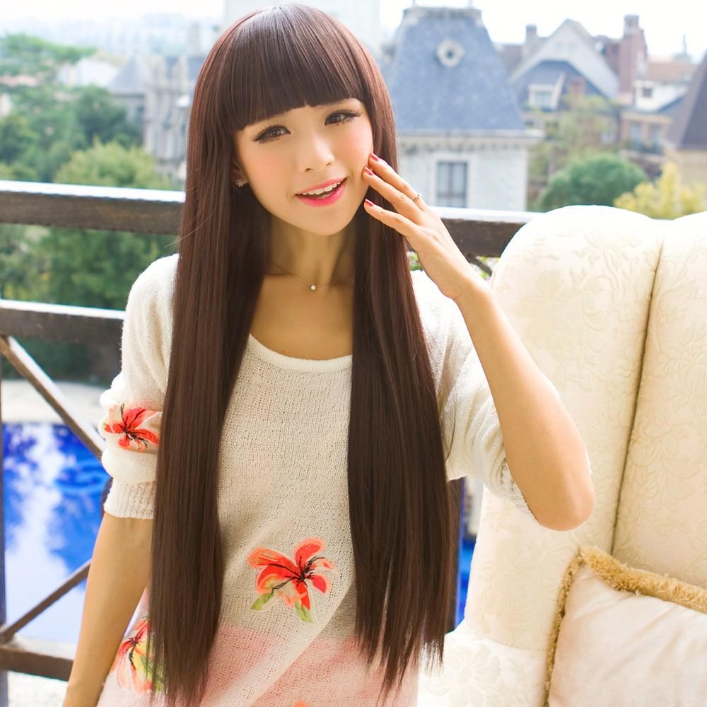 假发 女式 长直发 包邮 齐刘海蓬松修脸黑色逼真女生实拍甜美可爱