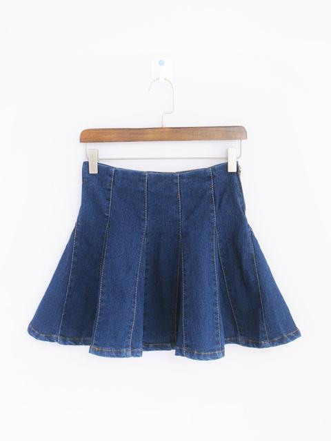 春夏季百搭深蓝色牛仔短裙