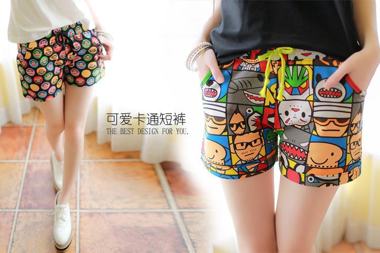 浓浓休闲味的卡通短裤~图案超级可爱!