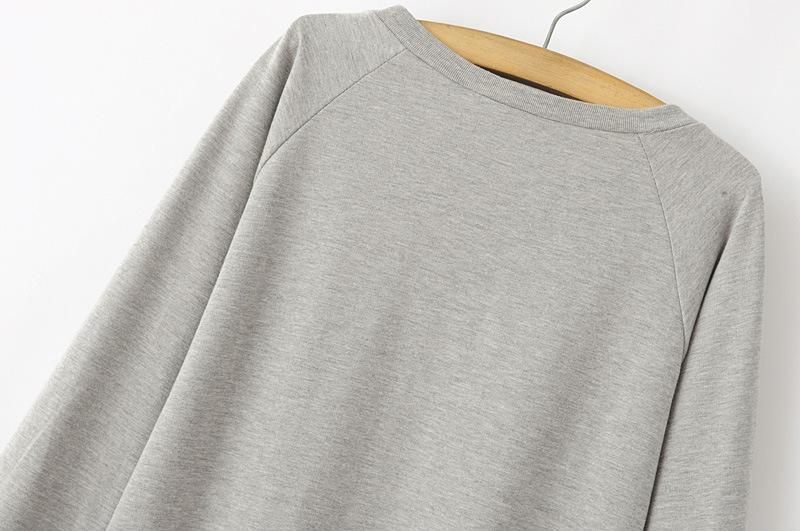 欧美风俏皮可爱灰色猫头鹰卫衣