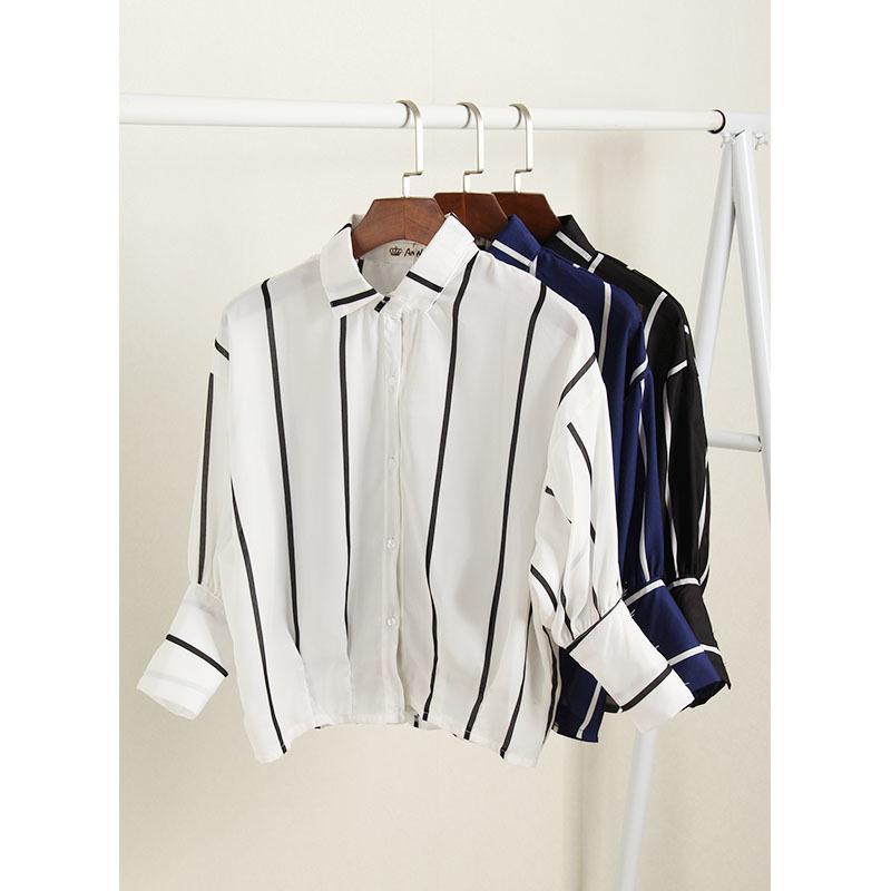 小清新竖条纹短款长袖衬衫
