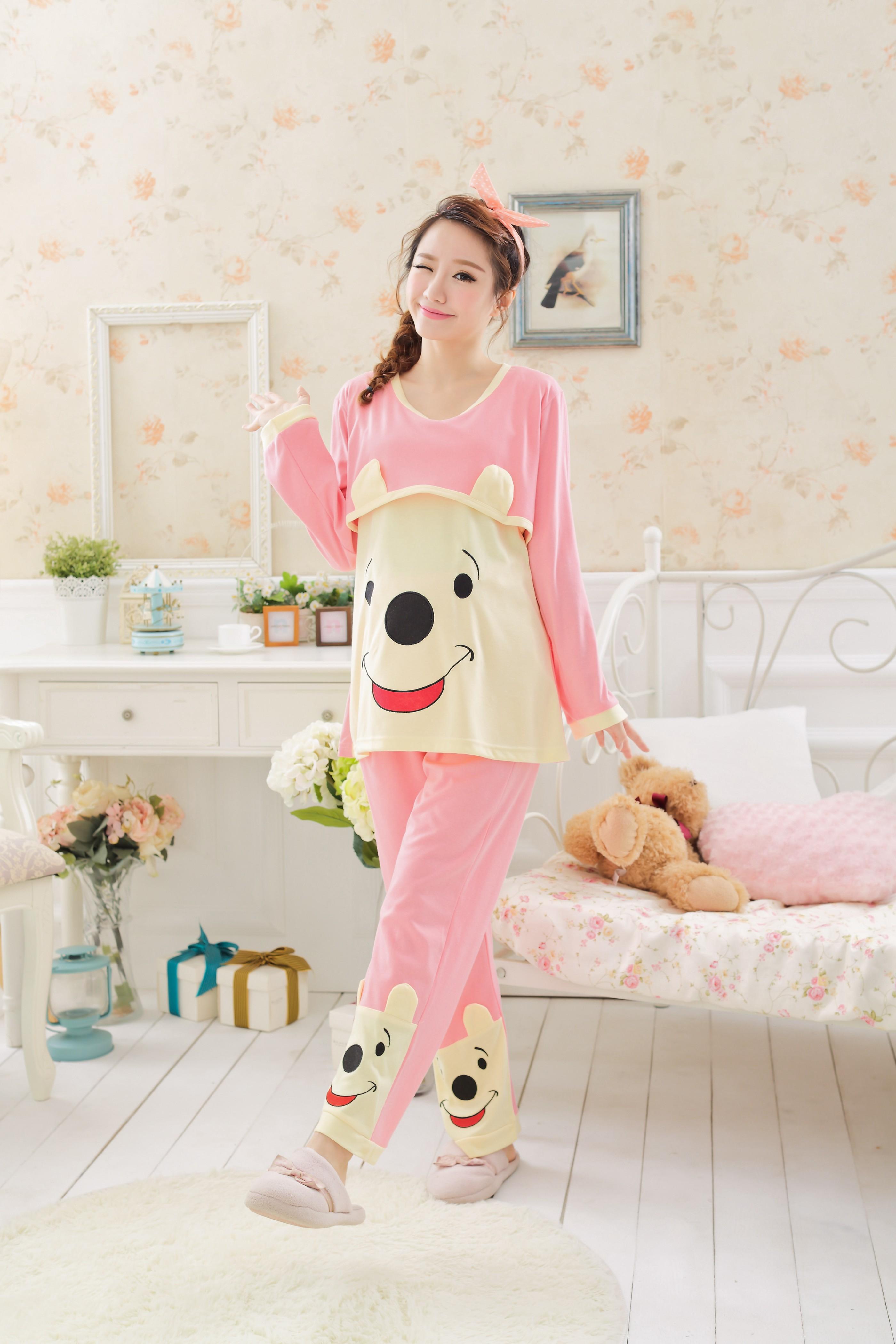 韩版可爱维尼熊孕妇睡衣-来自蘑菇街优店