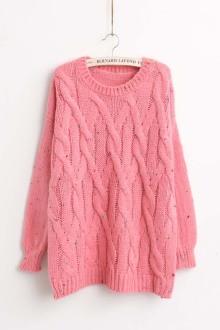 14秋冬杉杉来了同款粉色毛衣