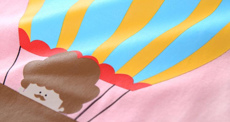 原创粉色热气球印花短袖t恤