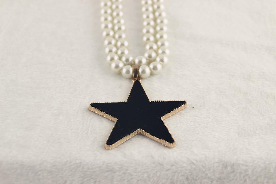 韩版珍珠五角星款项链