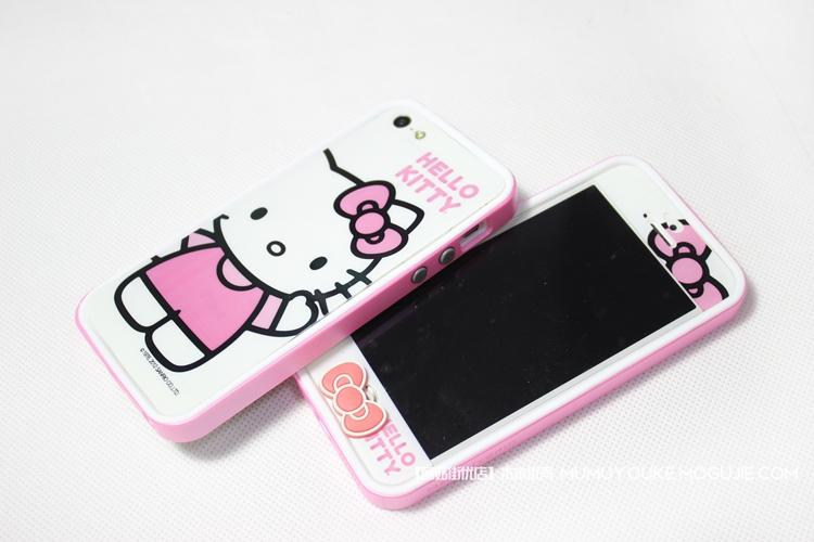 kitty贴膜+粉色边框套装手机壳