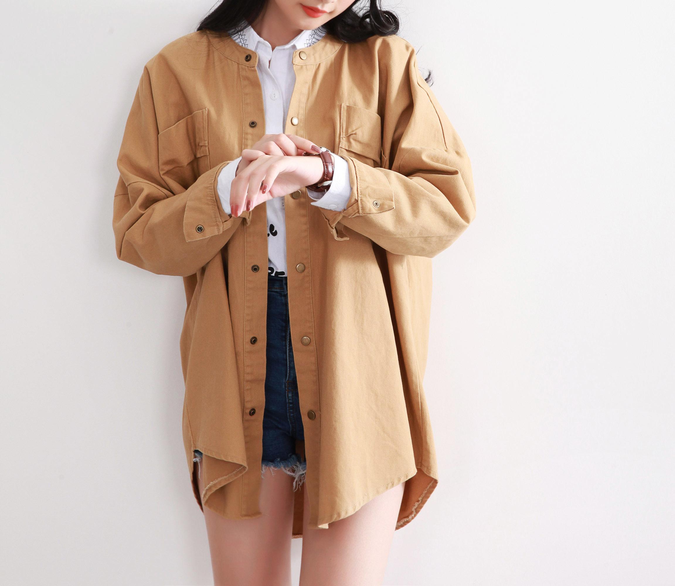 韩版后背字母中长款纯色风衣