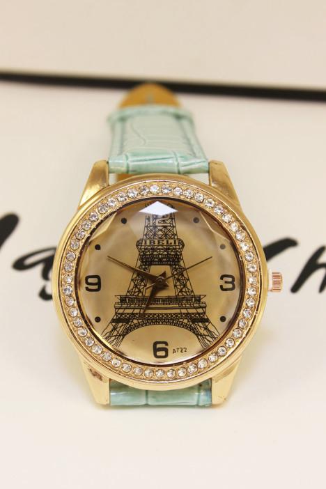 韩版埃菲尔铁塔水钻皮带手表