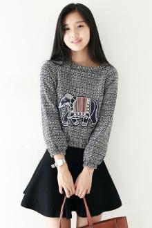 新款韩版混色可爱小象贴布卫衣