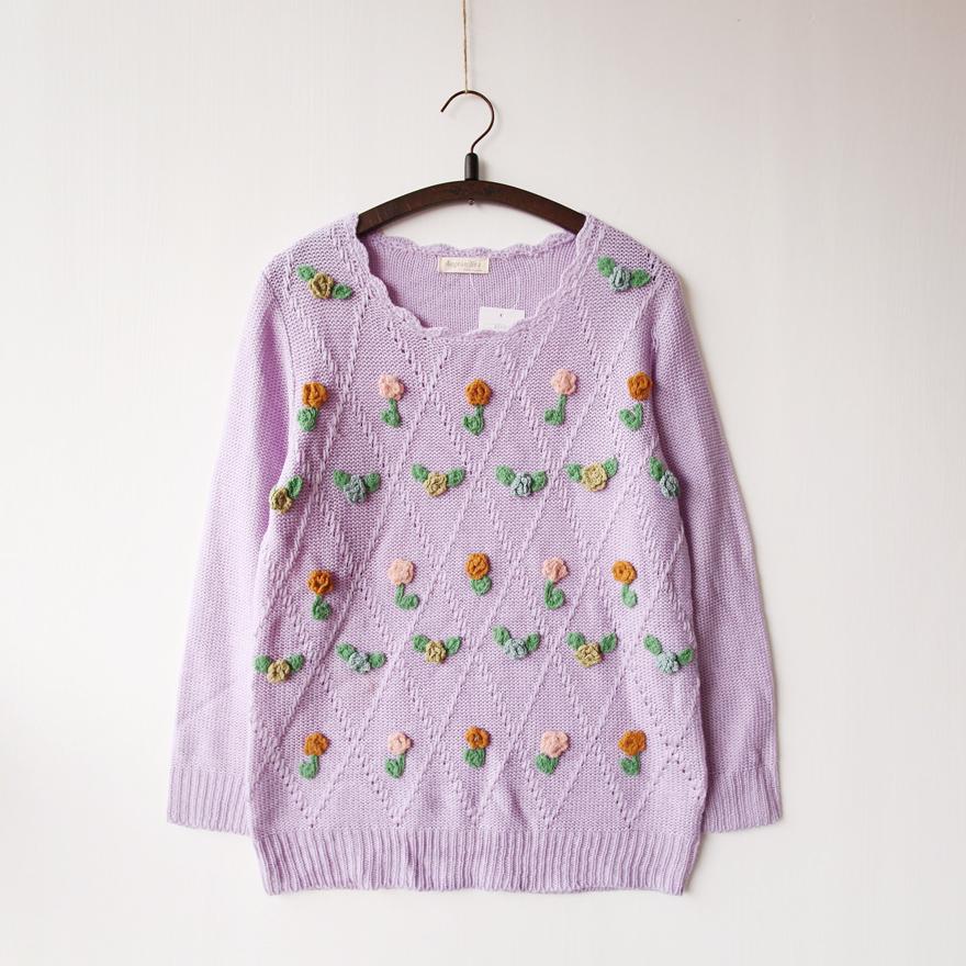 钩花花边领毛衣