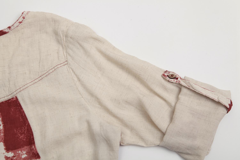 水墨画蜻蜓刺绣棉麻文艺宽松上衣
