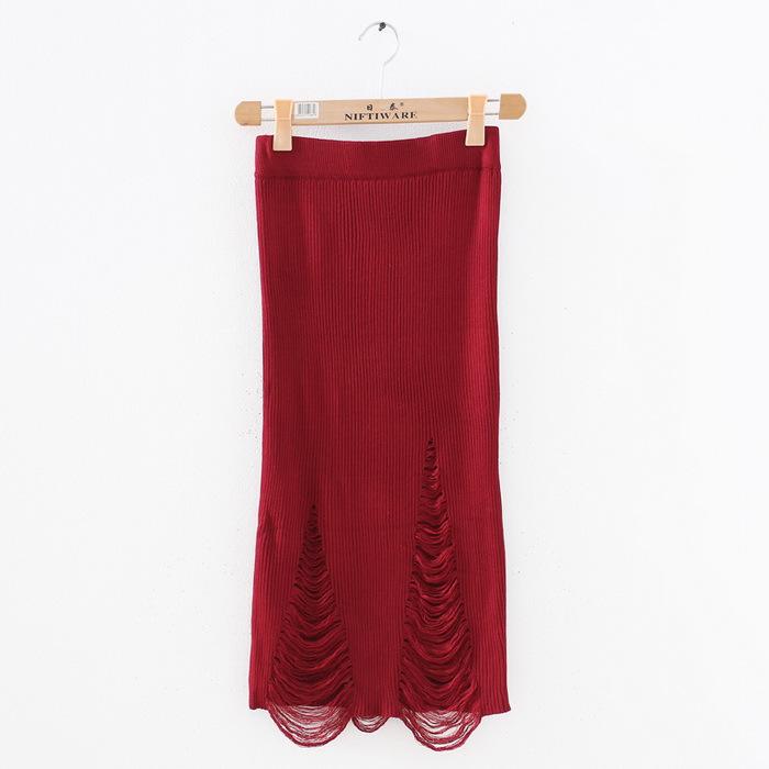 欧美个性破洞包臀针织半身裙