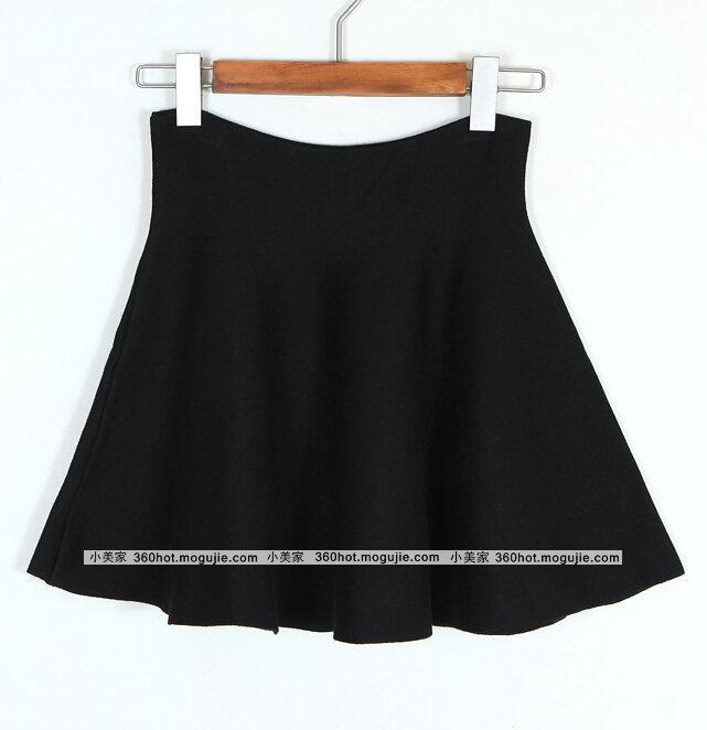 纯色针织半身裙