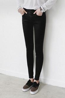 韩版黑色铅笔牛仔裤