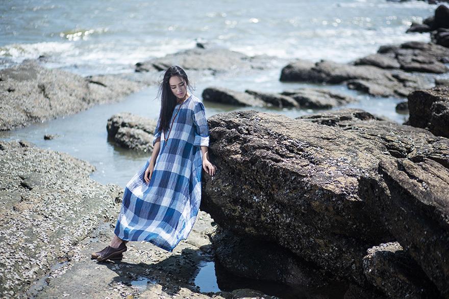 原创设计 文艺复古格子连衣裙