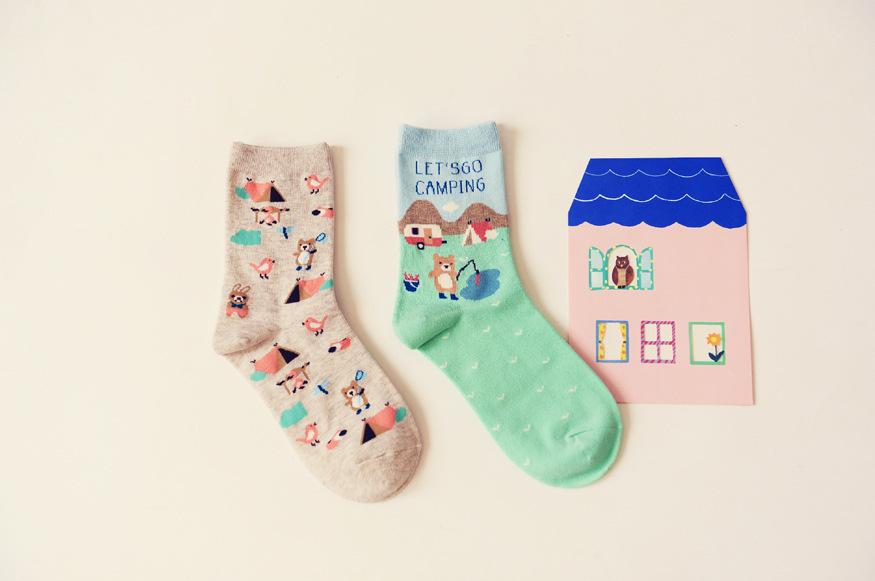 2双装小熊卡通短袜子