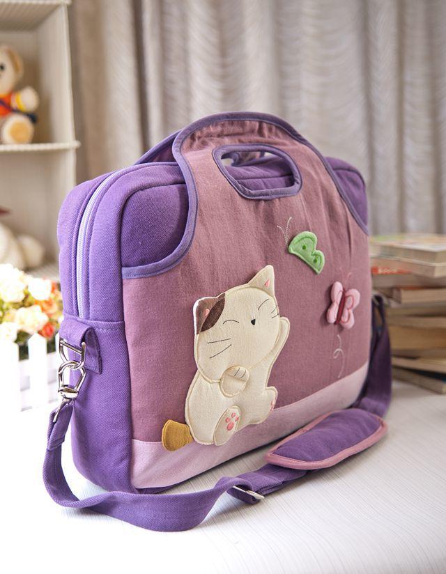 可爱蝴蝶猫咪棉布15寸电脑包