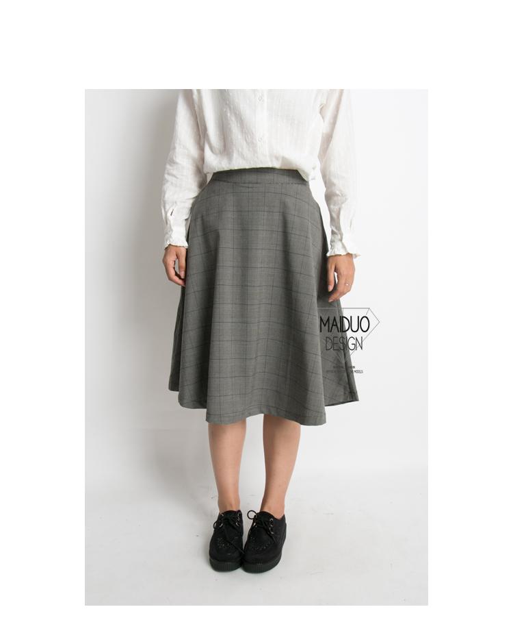 复古小格纹拉链高腰半身裙