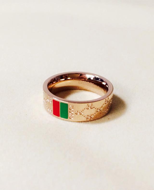 欧美经典花纹字母玫瑰金戒指
