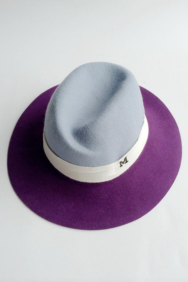 韩版m潮牌范冰冰同款贴布紫色休闲百搭造型礼帽 女帽子图片