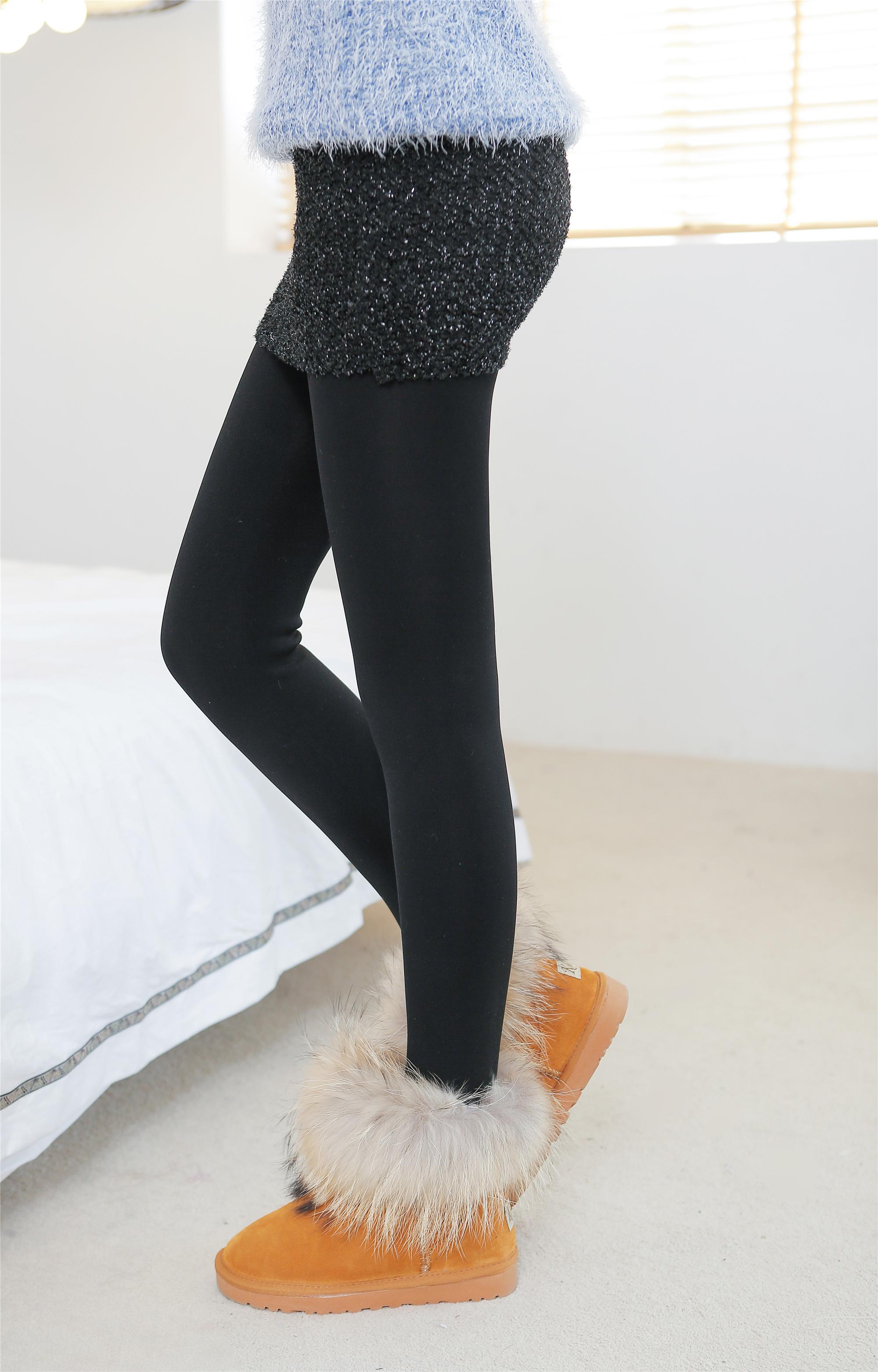新款假两件加绒加厚打底裤