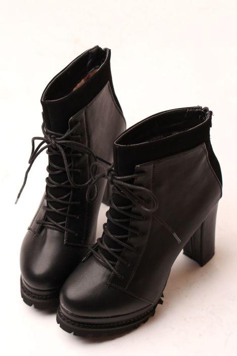 粗跟鞋,高跟短靴,粗跟短靴,欧美,黑色,圆头鞋,粗跟,显瘦,女鞋,防水台