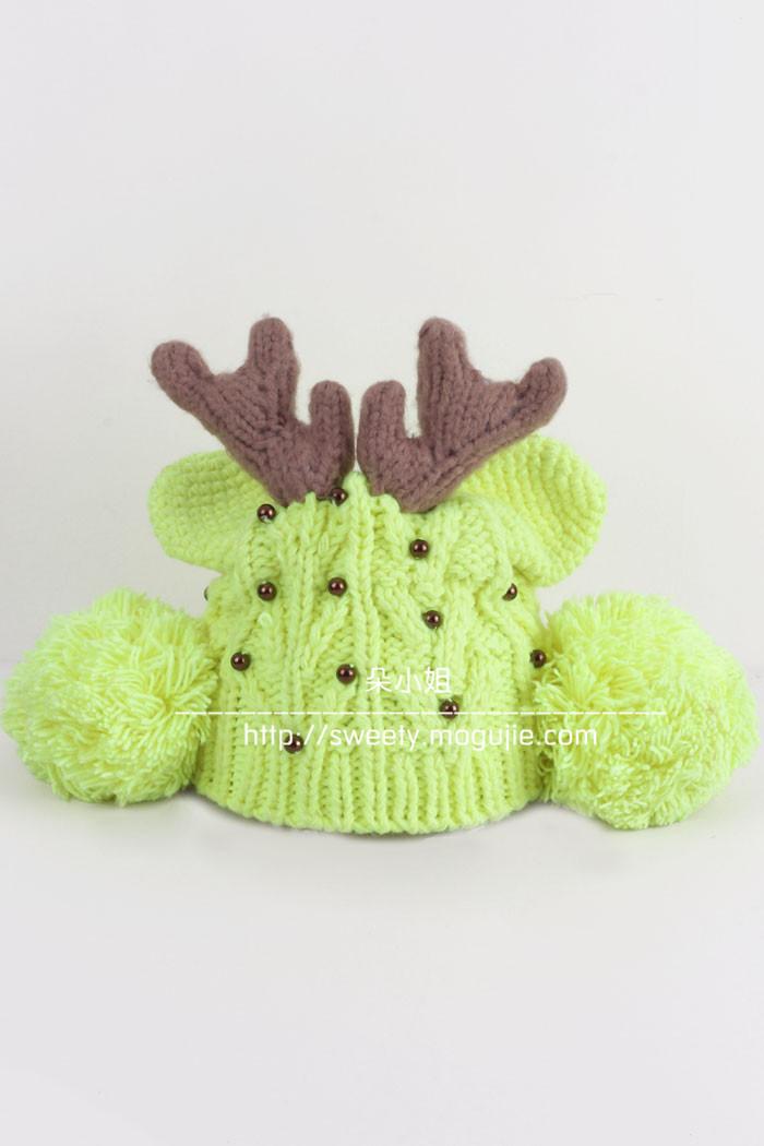 可爱小鹿角毛线帽