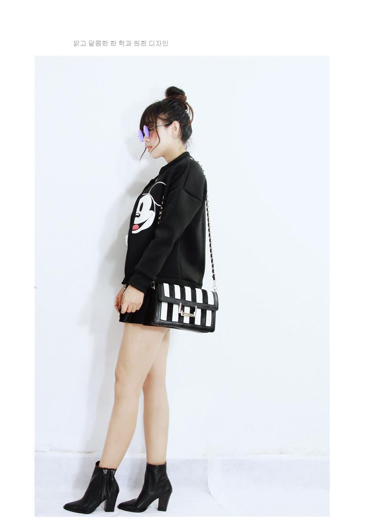 韩国复古黑白马毛斜挎小包-来自蘑菇街优店图片