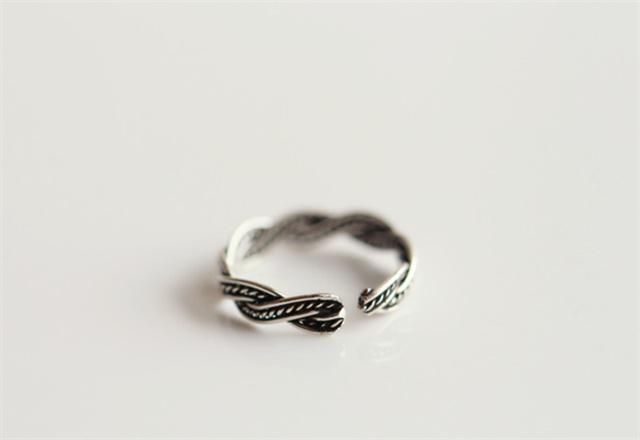 s925纯银复古编织开口样式戒指