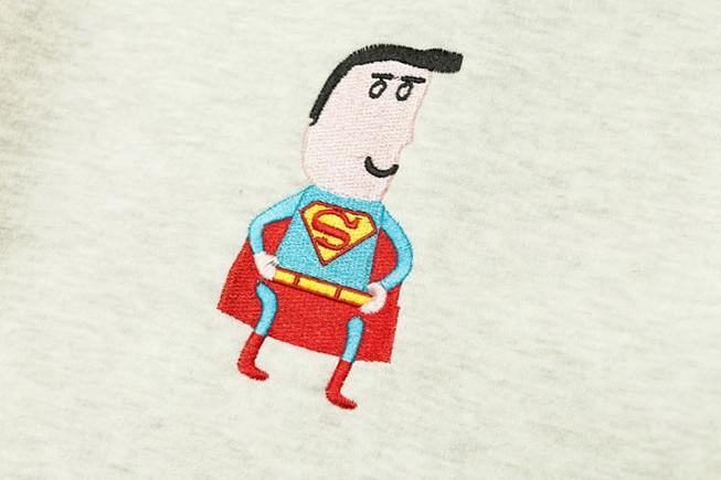 韩国刺绣超人情侣加绒卫衣