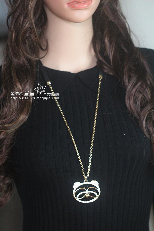 韩国可爱超萌小熊猫项链毛衣链