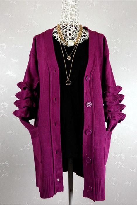 紫红色荷叶边袖子毛衣开衫