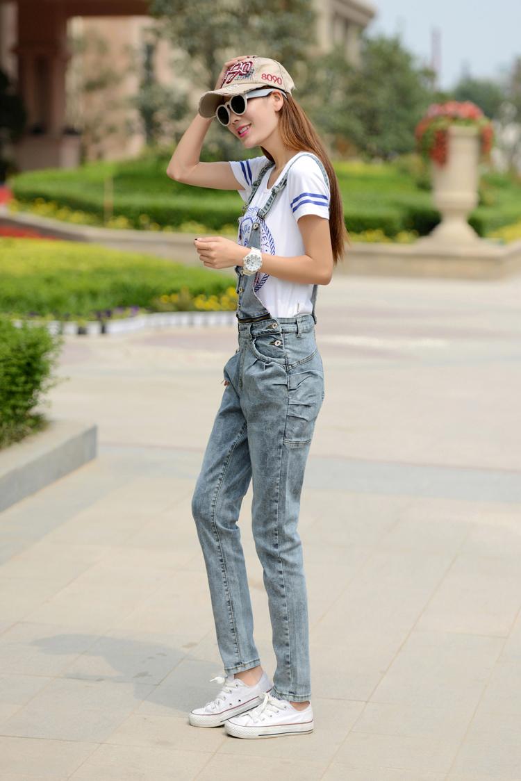 韩版背带牛仔裤