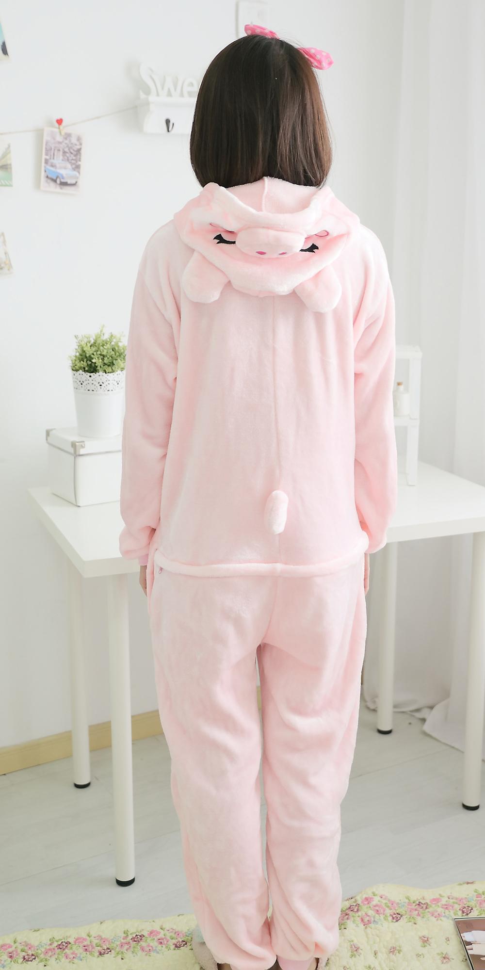 可爱亲子款卡通粉猪连体睡衣