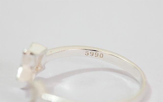 99足银星星月亮戒指