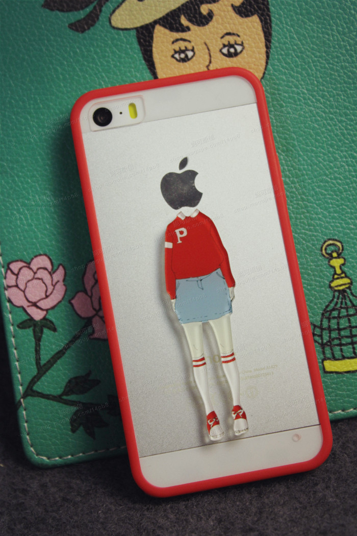 小清新苹果头情侣手机壳