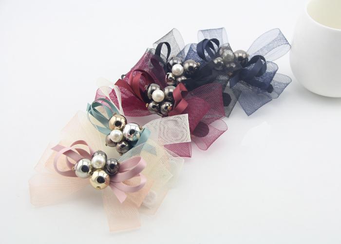 韩国网纱珠子蝴蝶结发夹