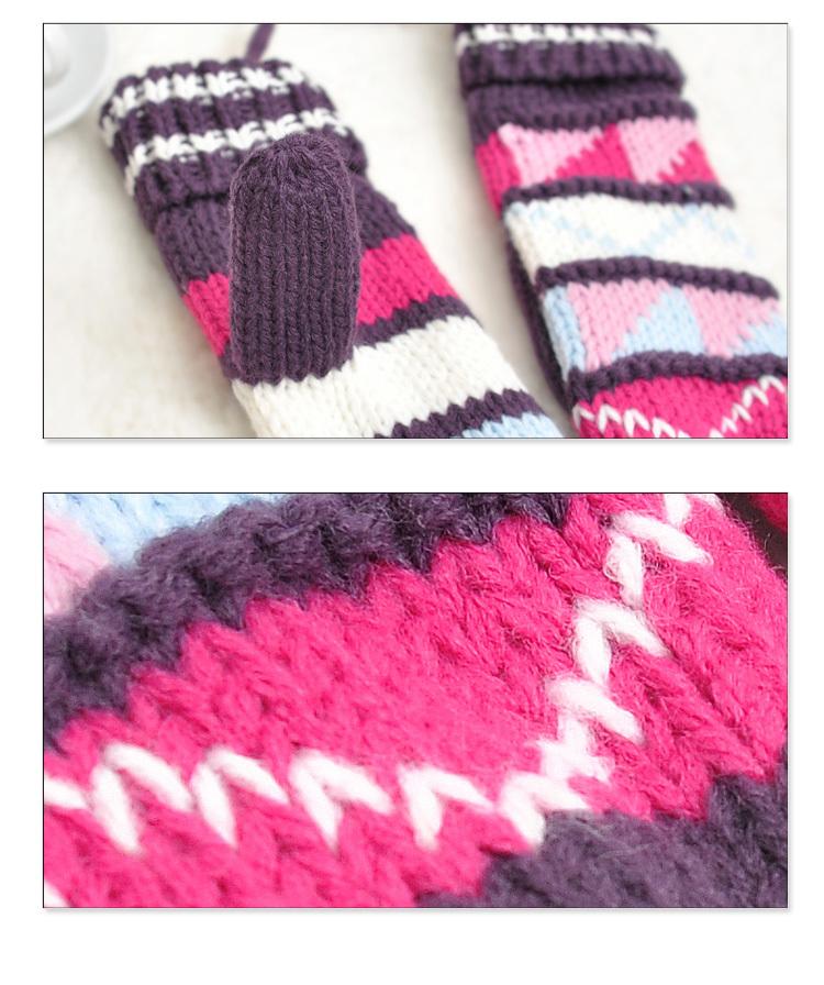 可爱民族风几何图案双层加绒手套