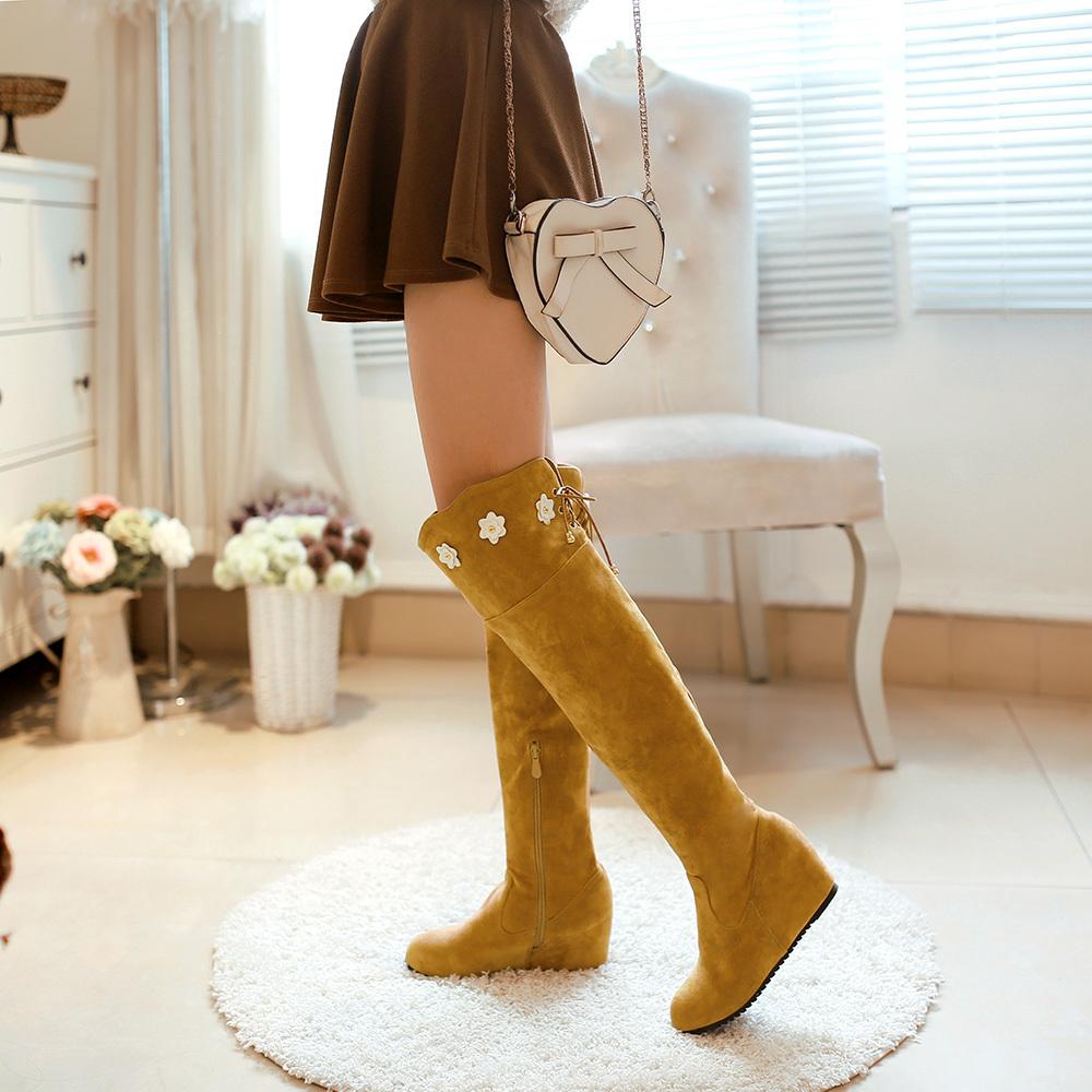 韩版小花朵后系带可爱过膝长靴