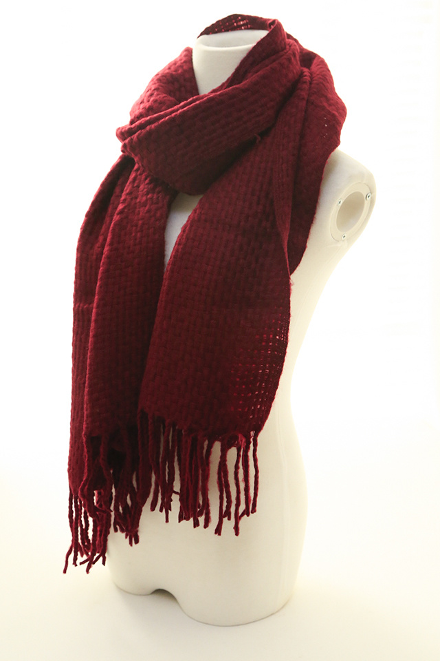 秋冬单色毛线编织流苏围巾