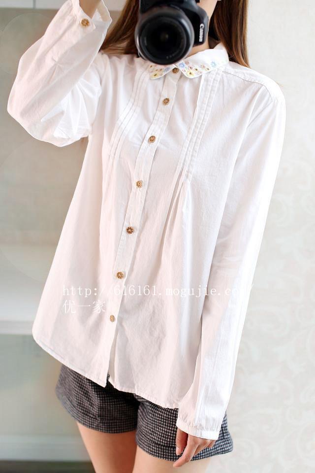 秋季韩系小清新文艺简约白衬衫