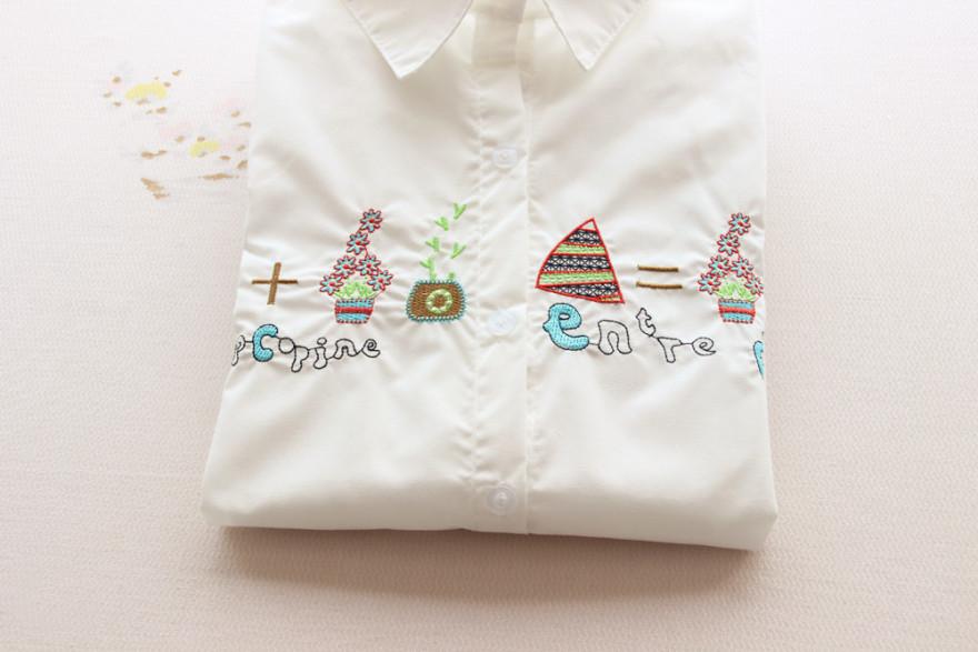 卡通绣花可爱白色衬衫