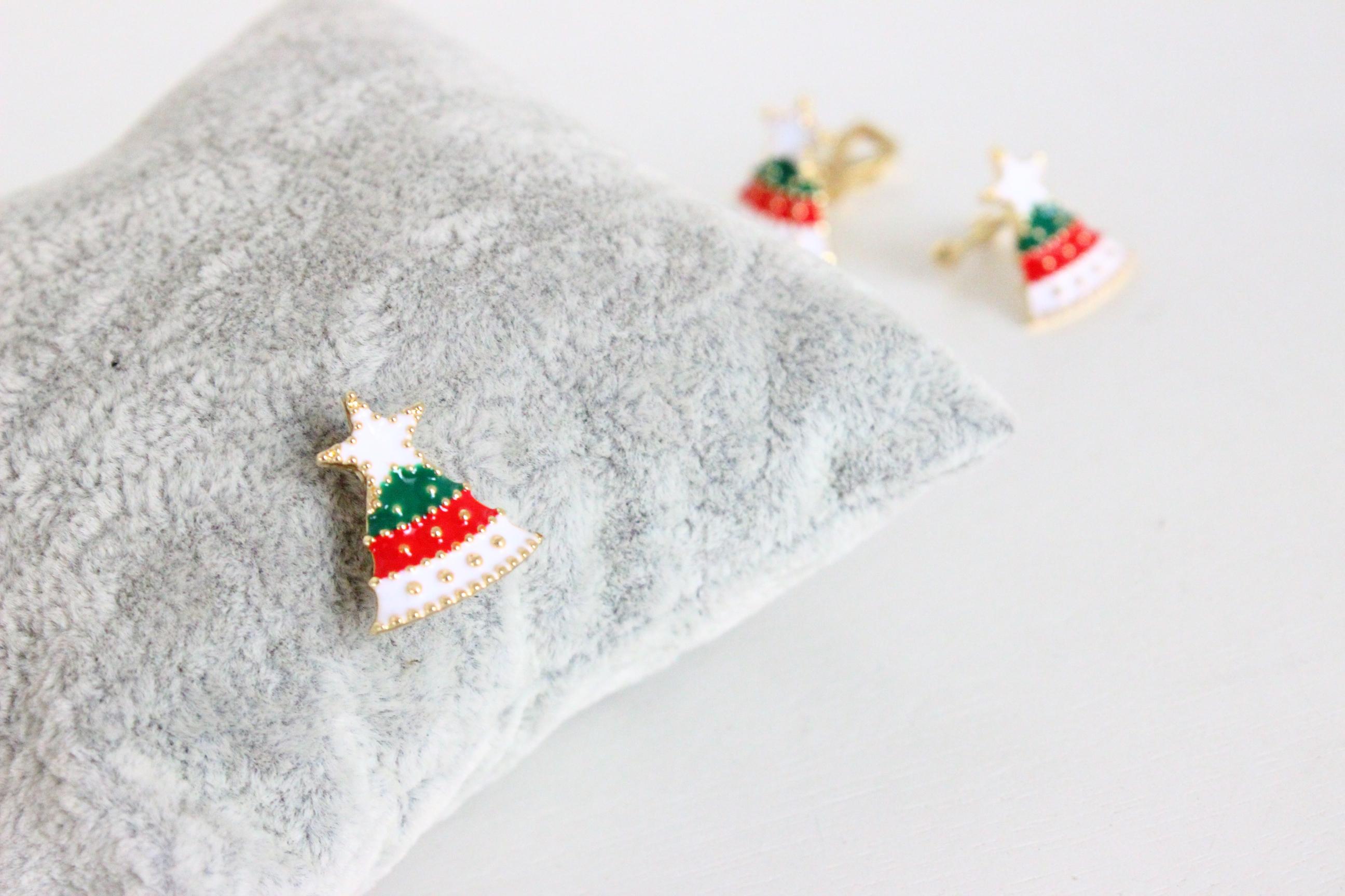 韩国版可爱麋鹿雪人圣诞树耳钉