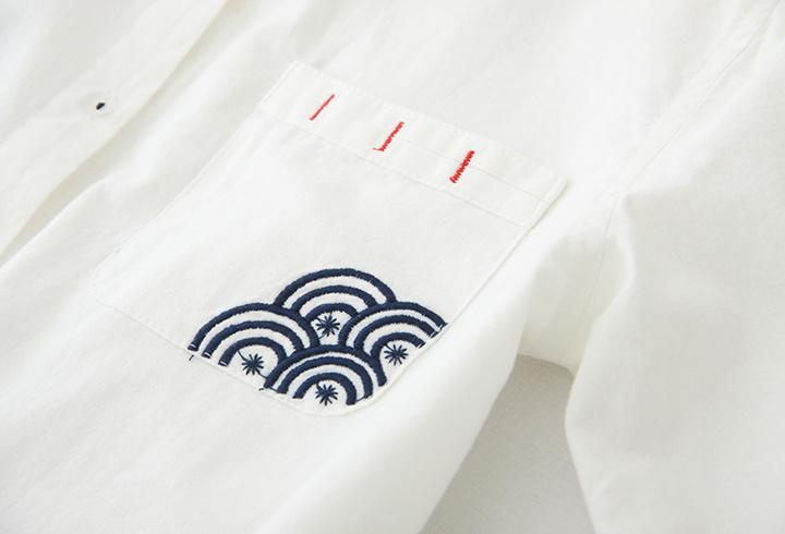 祥云刺绣衬衫-来自蘑菇街优店