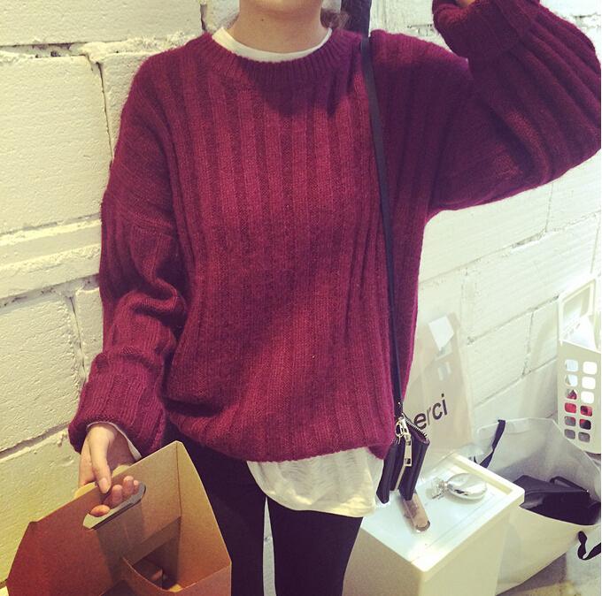 3色竖条型毛衣~~酒红色非常好看~~~~~简单的搭配一条