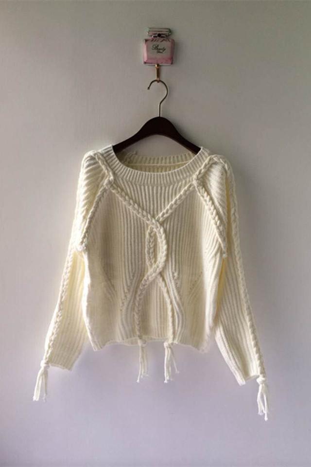 手工流苏麻花编织粗线毛衣
