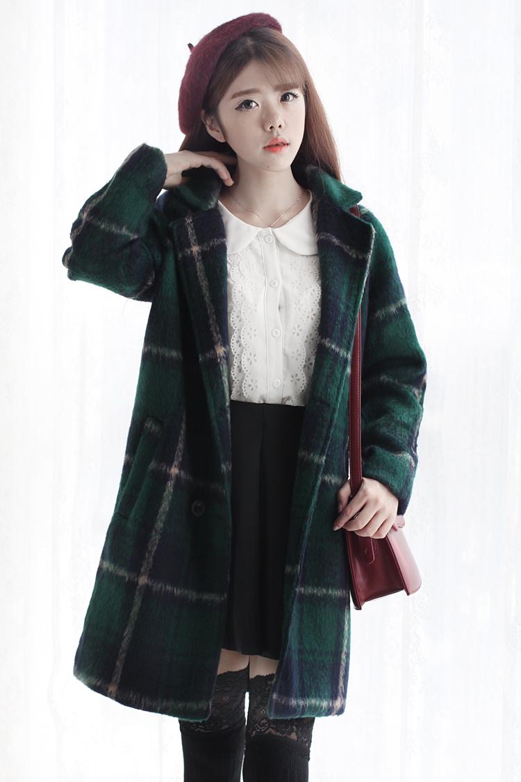 格子复古羊毛呢子大衣