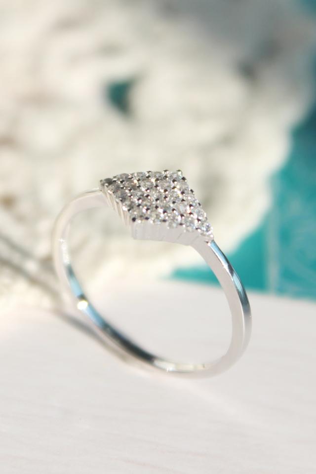 925纯银复古菱形戒指