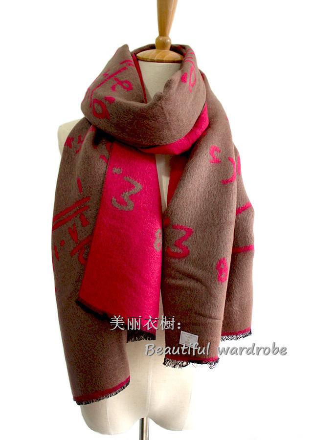 秋冬新款个性数字花纹仿羊绒围巾
