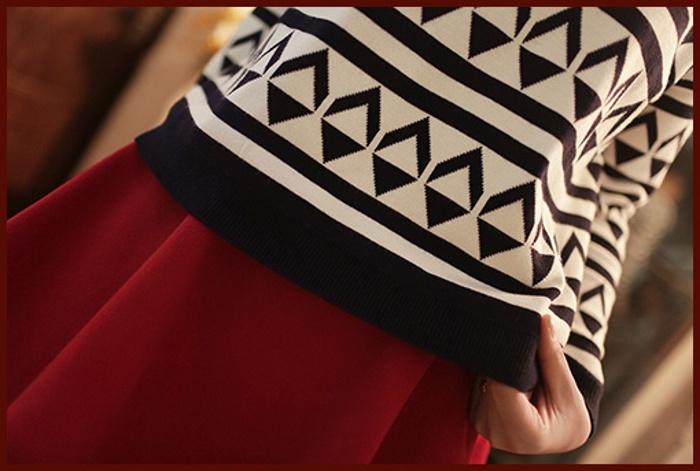 黑白菱形格毛衣+半身裙套装